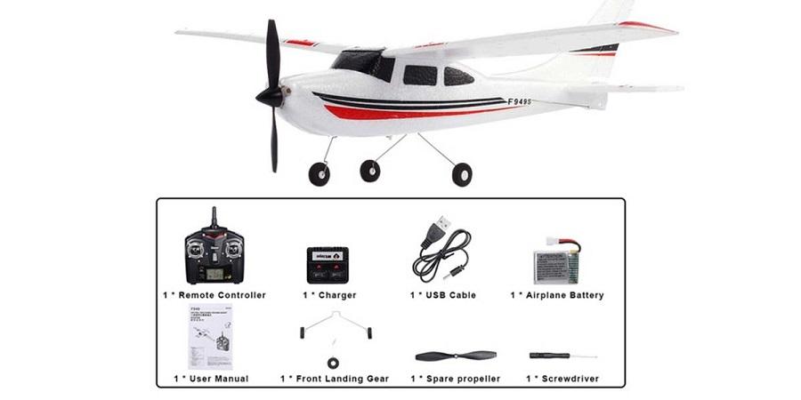 محتویات جعبه هواپیمای wltoys f949s